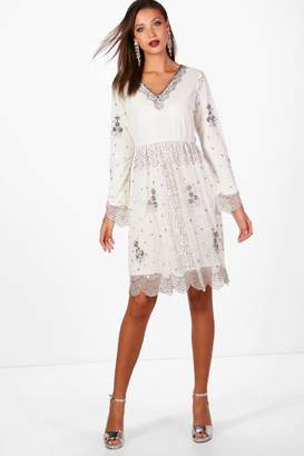 boohoo Tall Plunge Sequin Midi Dress