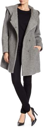 Andrew Marc Flair Hooded Wool Blend Coat