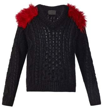 Prada Shoulder Panel Mohair Blend Sweater - Mens - Black Red