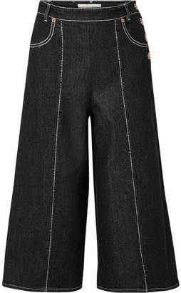 See by Chloe Cropped High-rise Wide-leg Jeans - Black
