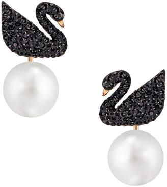 Swarovski Iconic Swan Faux Pearl and Crystal Rose Goldplated Earring