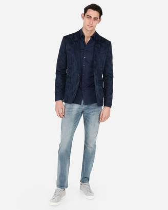 Express Slim Leaf Jacquard Tuxedo Jacket