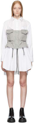 Sacai White and Grey Poplin Shirt Dress
