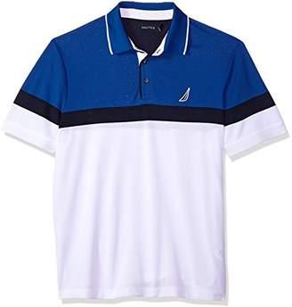Nautica Men's Classic Short Sleeve Color Block Moisture Wicking Polo Shirt