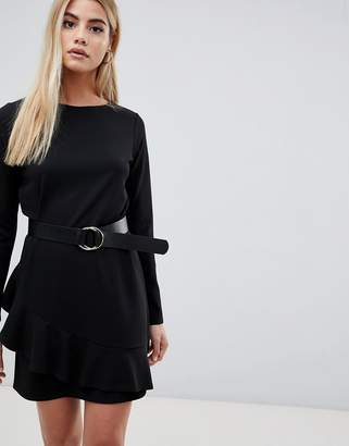 Asos DESIGN belted mini dress with ruffle hem