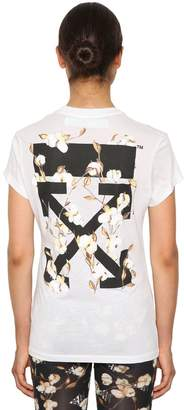 Off-White Off White Logo Print Fitted Cotton Jersey T-Shirt