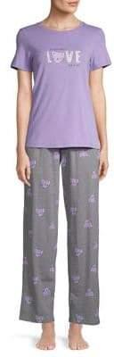 Hue Two-Piece Love Cat Short Sleeve Top Pyjama Set