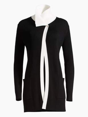 St. John Plaited Rib Knit Asymmetrical Cardigan