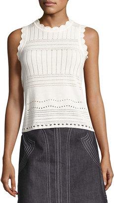 Derek Lam 10 Crosby Sleeveless Pointelle Crewneck Sweater, White $295 thestylecure.com
