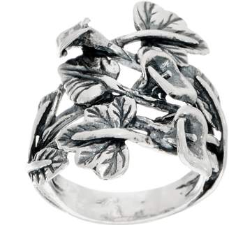 Or Paz Sterling Calla Lily & Leaves Ring
