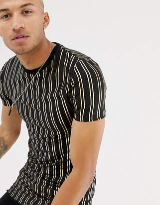 Asos DESIGN muscle fit longline t-shirt with gold vertical stripe