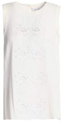 Derek Lam 10 Crosby Broderie Anglaise Silk-Blend Crepe De Chine Top