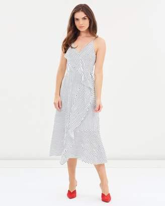 Warehouse Stripe Ruffle Wrap Midi Dress