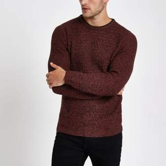 River Island Mens Red knit slim fit crew neck sweater