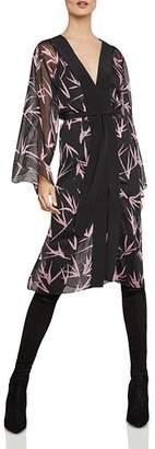 BCBGMAXAZRIA Metallic Bamboo-Print Dress