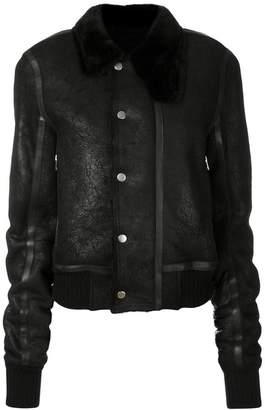 Rick Owens fur trim collar leather jacket