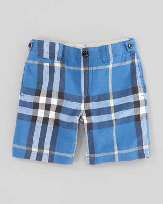 Burberry Mini Check Shorts, Cornflower Blue