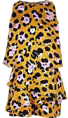River Island Girls brown leopard print skort playsuit
