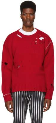 Ambush Red Damaged Crewneck Sweater