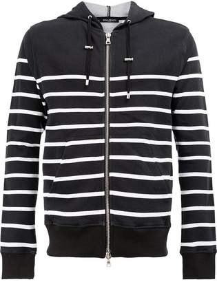 Balmain striped hooded sweatshirt