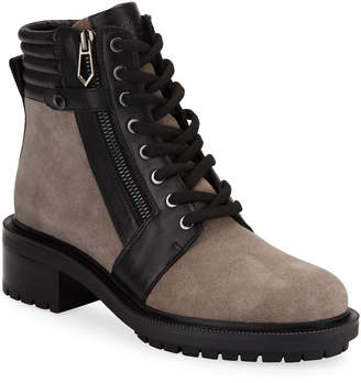 Botkier Moto Mixed Leather Zip Combat Boots