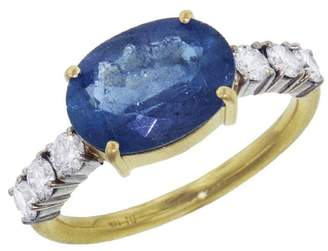 Irene Neuwirth Oval Aquamarine Diamond Ring