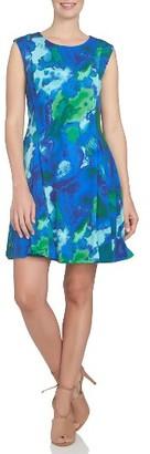 Women's Cece Watercolor Print A-Line Knit Dress $109 thestylecure.com