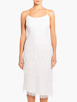 Adrianna Papell Beaded Tiered Hem Dress, Ivory