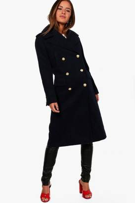 boohoo Petite Double Breasted Military Coat