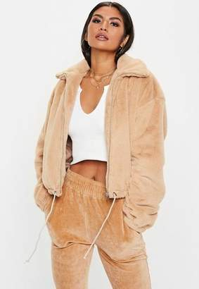 Missguided Camel Faux Fur Bomber Jacket