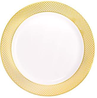 """Kaya Collection - Disposable White with Gold Diamond Rim Plastic Round 9"""" Buffet Plates (20 Plates)"""
