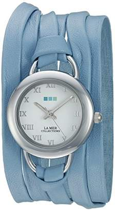 La Mer Women's LMSATURN1508 Wedgewood Stainless Steel Watch with Blue Leather Wrap Band