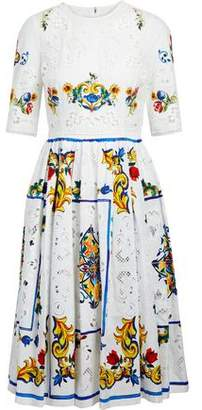 Dolce & Gabbana Floral-Print Broderie Anglaise Cotton Dress