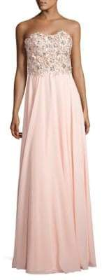 Terani Couture Glamour by Strapless Floral-Embroidered Gown