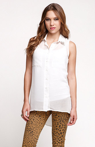 Kirra Studded Collar Tunic Shirt