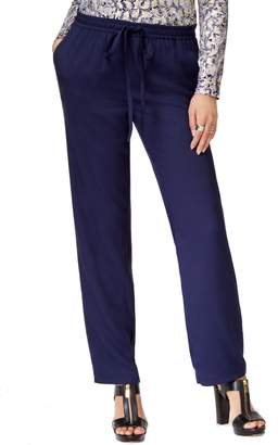 MICHAEL Michael Kors Womens Elastic Waist Flat Front Casual Pants Navy XL