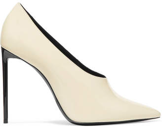 Saint Laurent Teddy Patent-leather Pumps - Ivory