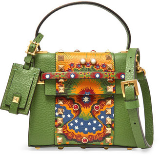 Valentino - My Rockstud Micro Printed Leather Shoulder Bag - Leaf green $3,195 thestylecure.com