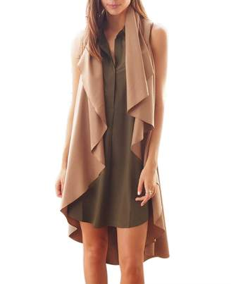 QiuLan Women's Irregular Waistcoat Vest Sleeveless Solid Color Trench Coat