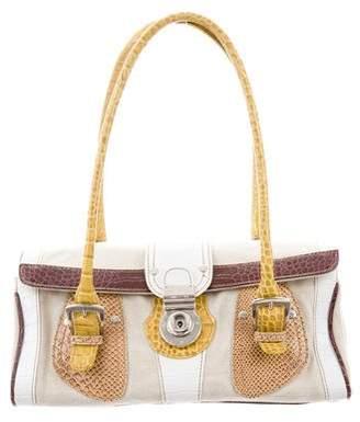 Etro Embossed Leather-Trimmed Shoulder Bag
