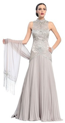 Sue Wong - Mock Neck Drop Waist Gown in Platinum Sleeveless Dress $726 thestylecure.com