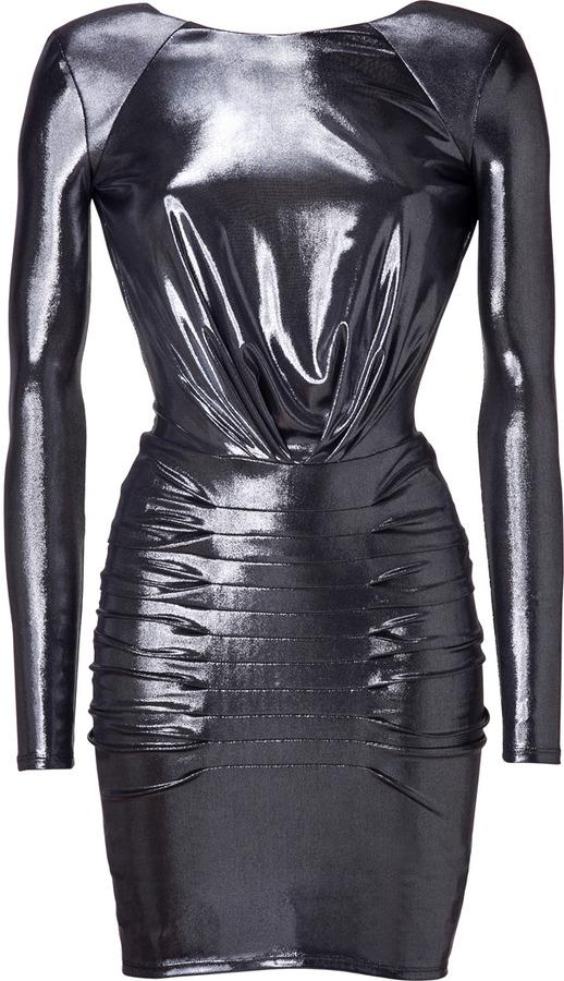 Faith Connexion Silver Metallic Draped Dress