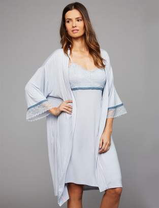 A Pea in the Pod Clip Down Lace Trim Nursing Nightgown And Robe Set