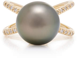 Mizuki One-Of-A-Kind Black Tahitian Pearl & Diamond Crossover Ring