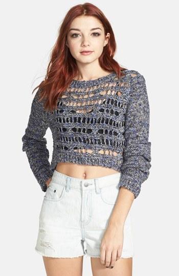 Rubbish Open Knit Crop Sweater (Juniors)
