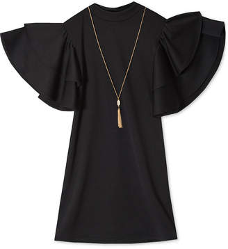 Rare Editions Big Girls 2-Pc. Ruffle-Sleeve Shift Dress & Necklace Set