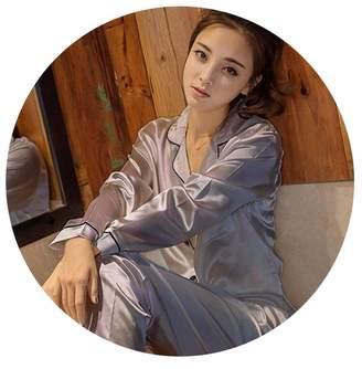 36a55bb805 Pocket shop-Pajamas Womens Silk Satin Pajamas Set Long Sleeve Sleepwear  Pijama Pajamas Suit Female