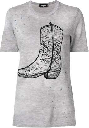 DSQUARED2 cowboy boot print T-shirt