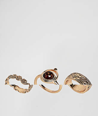 Asos Pack Of 3 Faux Smoked Topaz And Engraved Rings