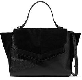 Halston Suede And Pebbled-Leather Shoulder Bag